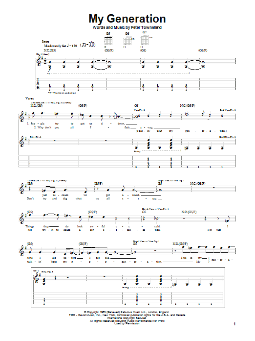Tablature guitare My Generation de The Who - Tablature Guitare