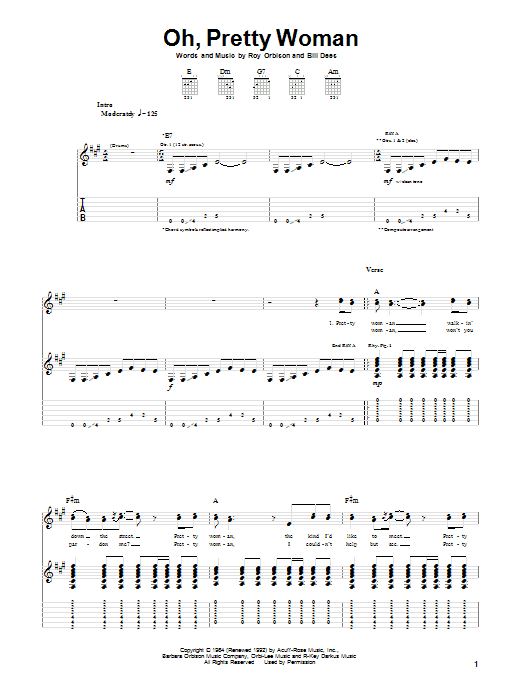 Tablature guitare Oh, Pretty Woman de Roy Orbison - Tablature Guitare