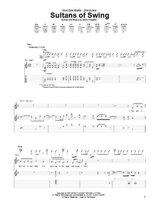 Tablature guitare Sultans Of Swing de Dire Straits - Tablature Guitare