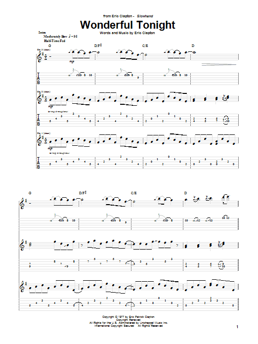 Wonderful Tonight sheet music for guitar solo (tablature) by Eric Clapton