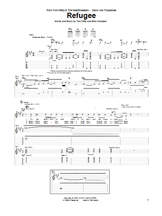 Tablature guitare Refugee de Tom Petty - Tablature Guitare