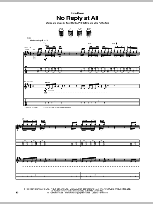 Tablature guitare No Reply At All de Genesis - Tablature Guitare