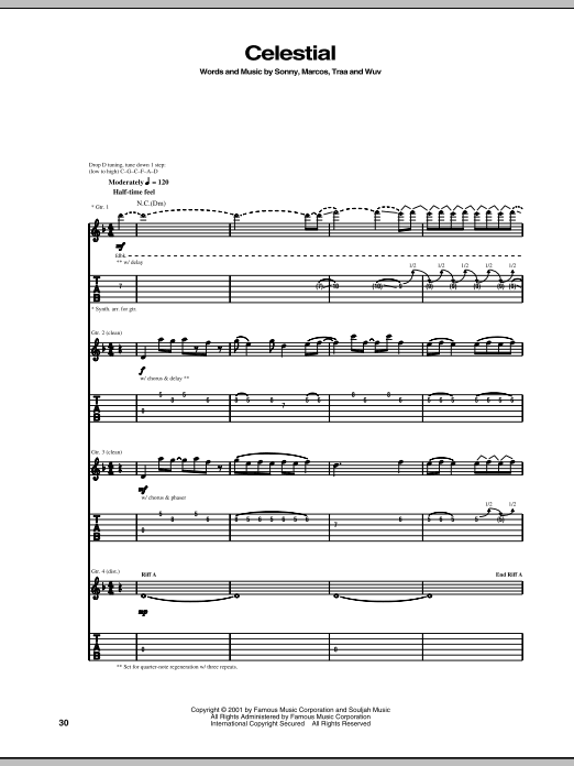 Tablature guitare Celestial de P.O.D. (Payable On Death) - Tablature Guitare