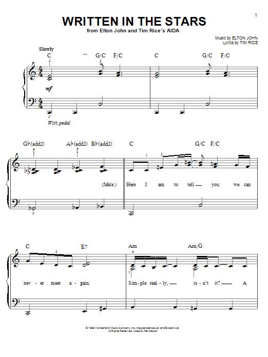Partition piano Written In The Stars de Elton John - Piano Facile
