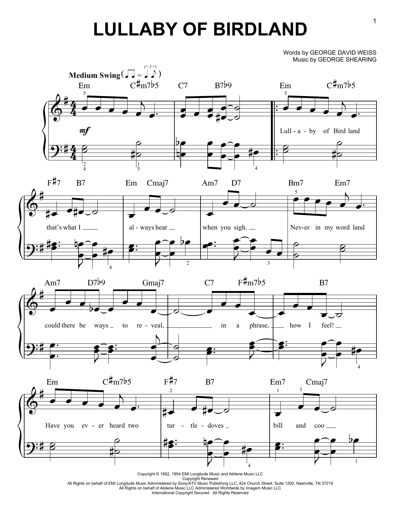 Partition piano Lullaby Of Birdland de George David Weiss - Piano Facile