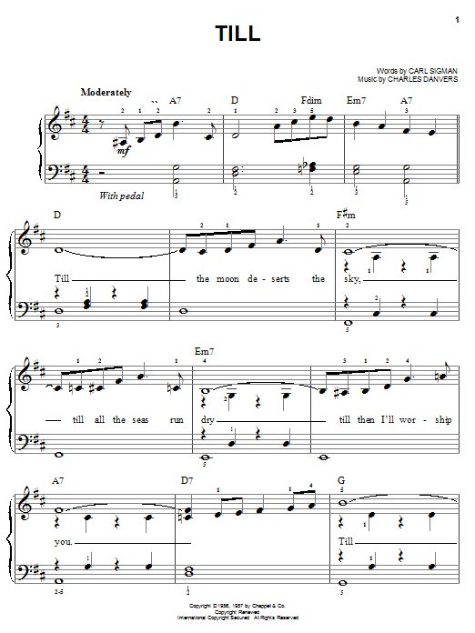 Partition piano Till de Carl Sigman - Piano Facile