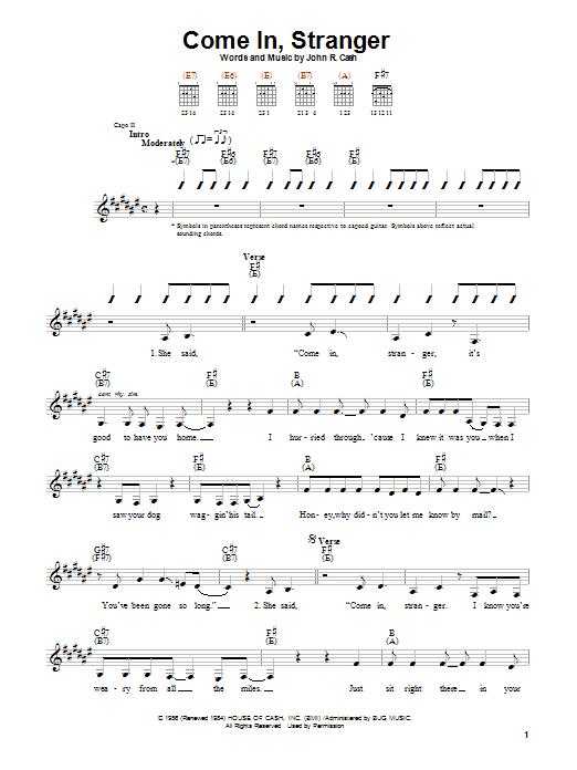 Tablature guitare Come In, Stranger de Johnny Cash - Autre