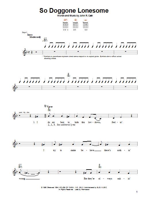 Tablature guitare So Doggone Lonesome de Johnny Cash - Autre