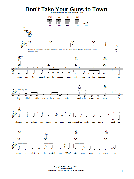Tablature guitare Don't Take Your Guns To Town de Johnny Cash - Autre