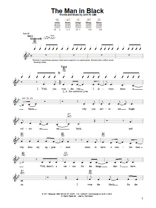 Tablature guitare The Man In Black de Johnny Cash - Autre