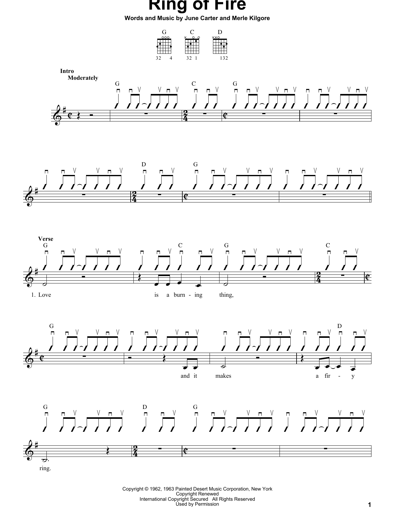 Partition autre Ring Of Fire de Johnny Cash - Tablature guitare facile