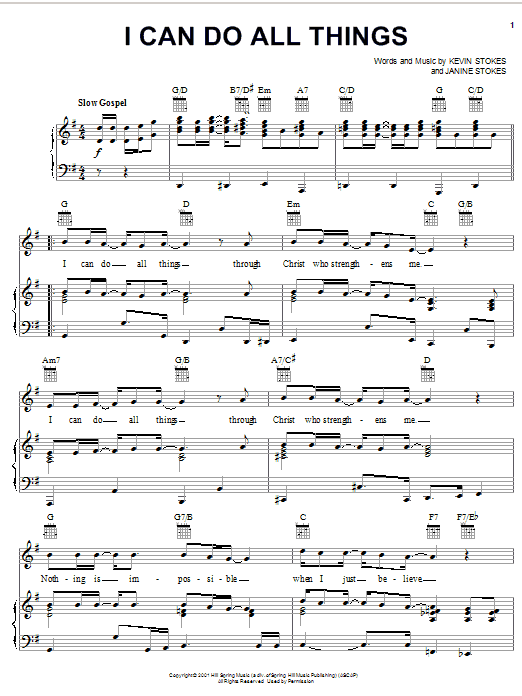 Partition piano I Can Do All Things de Kevin Stokes - Piano Voix Guitare (Mélodie Main Droite)