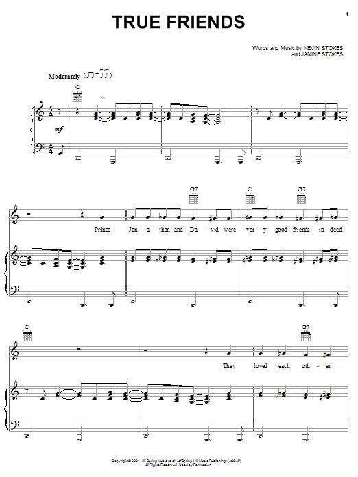 Partition piano True Friends de Kevin Stokes - Piano Voix Guitare (Mélodie Main Droite)