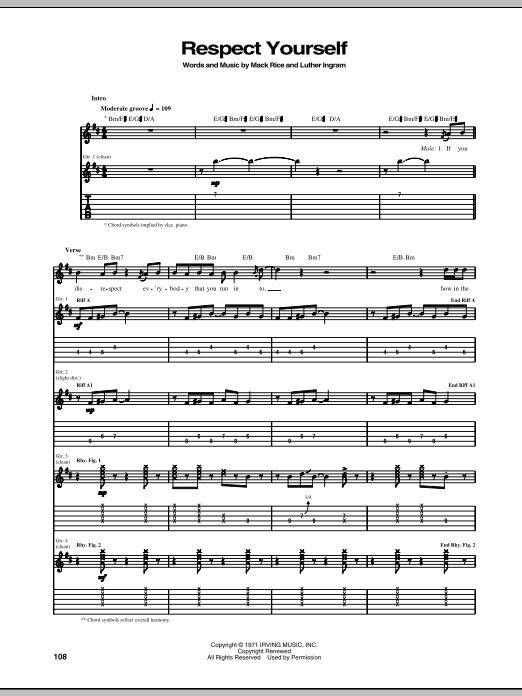 Tablature guitare Respect Yourself de The Staple Singers - Tablature Guitare