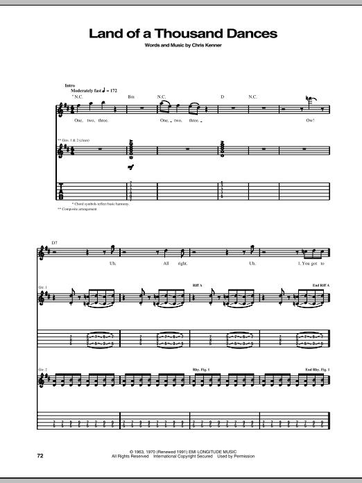 Tablature guitare Land Of A Thousand Dances de Chris Kenner - Tablature Guitare