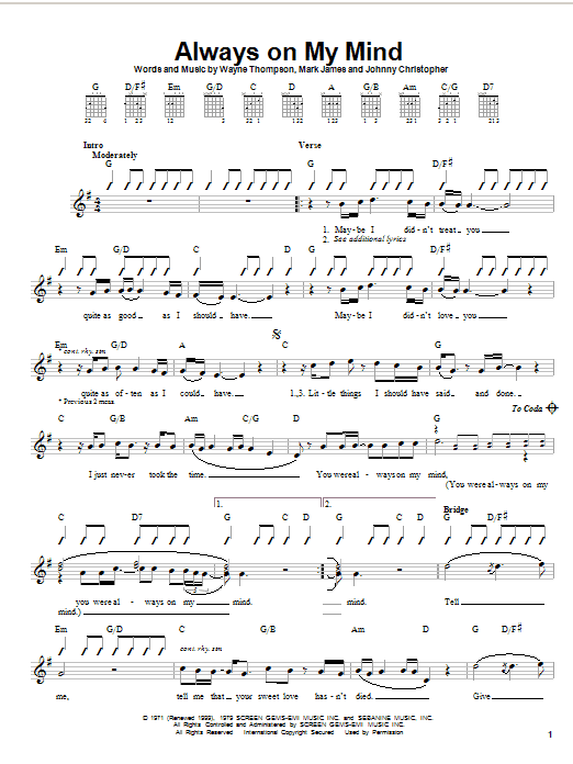 Always On My Mind sheet music for guitar solo (chords) by Wayne Thompson