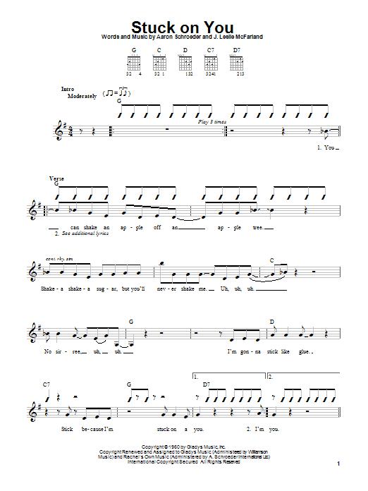 Tablature guitare Stuck On You de Elvis Presley - Tablature guitare facile