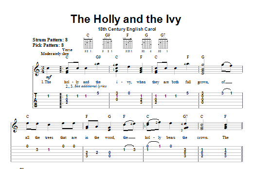 Tablature guitare The Holly And The Ivy de Christmas Carol - Tablature guitare facile