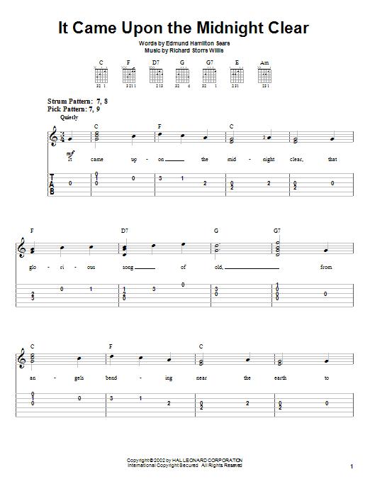 Tablature guitare It Came Upon The Midnight Clear de Christmas Carol - Tablature guitare facile