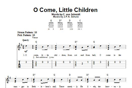Tablature guitare O Come, Little Children de C. von Schmidt - Tablature guitare facile