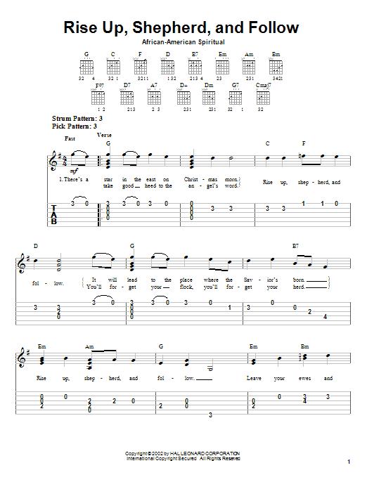 Tablature guitare Rise Up, Shepherd, And Follow de African-American Spiritual - Tablature guitare facile