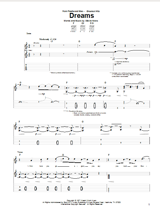 Tablature guitare Dreams de Fleetwood Mac - Tablature Guitare