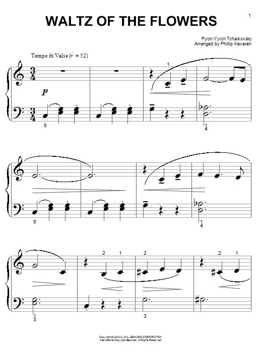 Partition piano Waltz Of The Flowers de Pyotr Ilyich Tchaikovsky - Piano Facile
