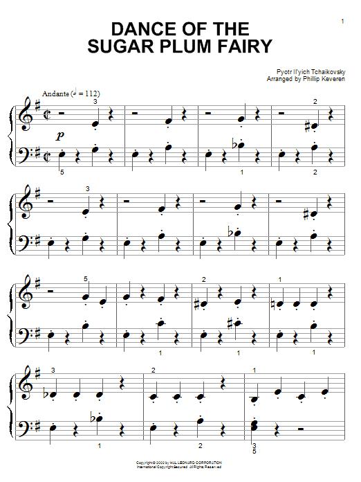 Partition piano Dance Of The Sugar Plum Fairy de Pyotr Ilyich Tchaikovsky - Piano Facile