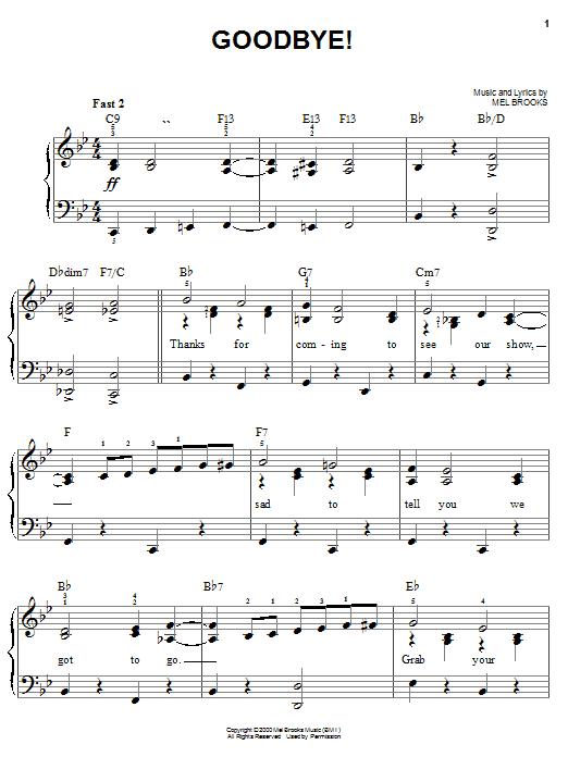Partition piano Goodbye! de Mel Brooks - Piano Facile