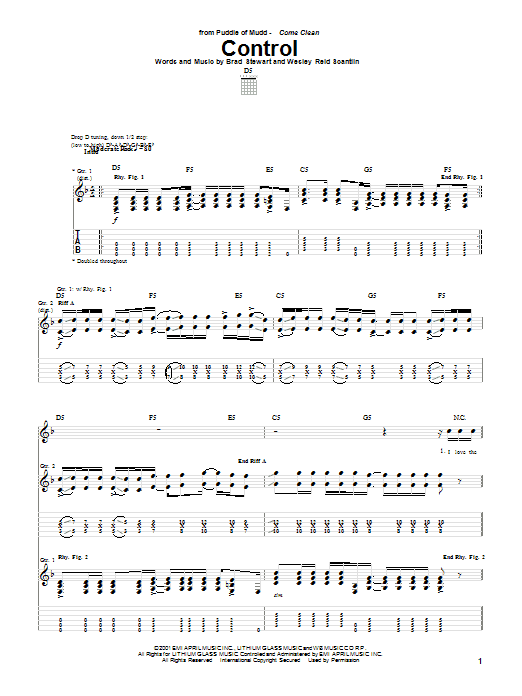 Tablature guitare Control de Brad Stewart - Tablature Guitare