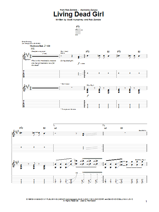 Tablature guitare Living Dead Girl de Rob Zombie - Tablature Guitare