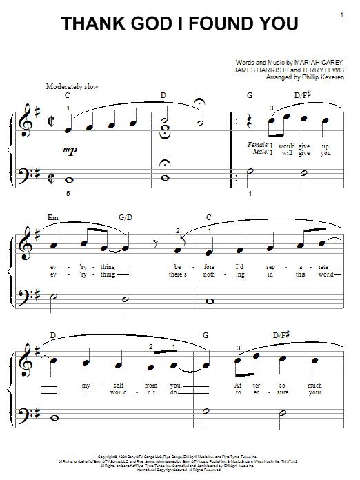 Partition piano Thank God I Found You de Mariah Carey featuring Joe & 98 Degrees - Piano Facile