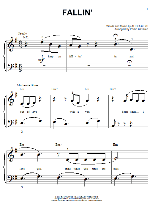 Partition piano Fallin' de Alicia Keys - Piano Facile