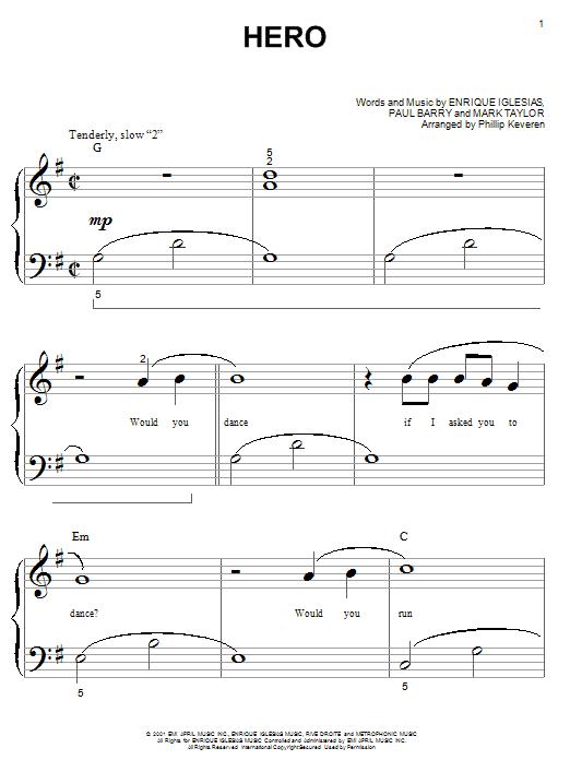 Partition piano Hero de Enrique Iglesias - Piano Facile