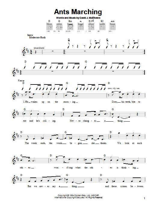 Tablature guitare Ants Marching de Dave Matthews Band - Autre