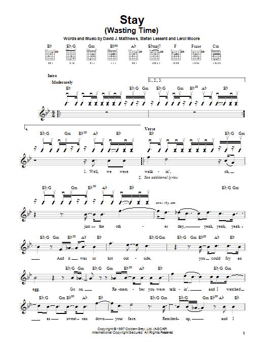 Tablature guitare Stay (Wasting Time) de Dave Matthews Band - Tablature guitare facile
