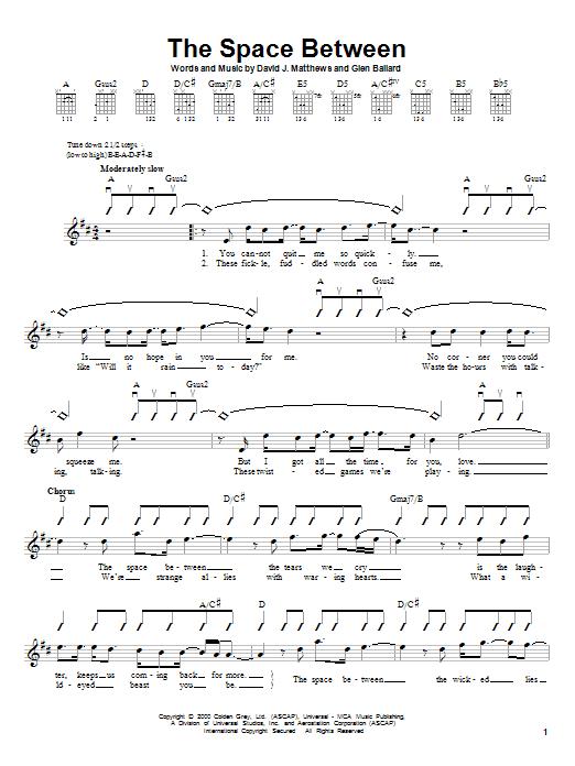 Tablature guitare The Space Between de Dave Matthews Band - Autre