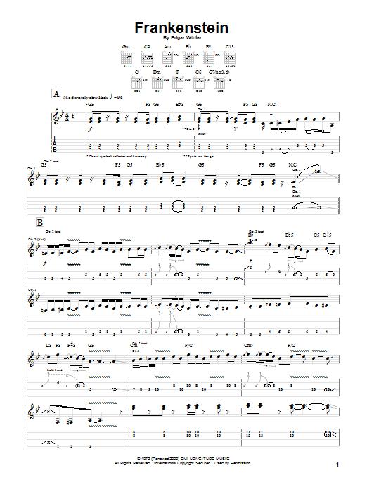 Frankenstein sheet music for guitar (tablature) by Edgar Winter