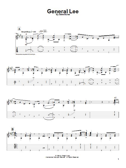 Tablature guitare General Lee de Steve Morse - Tablature Guitare