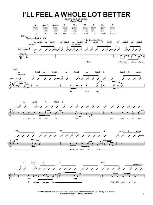 Tablature guitare I'll Feel A Whole Lot Better de Gene Clark - Tablature Guitare
