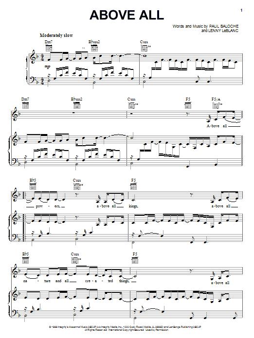 Partition piano Above All de Rebecca St. James - Piano Voix Guitare (Mélodie Main Droite)