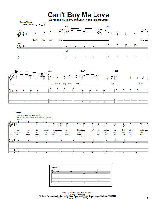 Tablature guitare Can't Buy Me Love de The Beatles - Tablature Basse