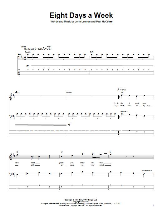 Tablature guitare Eight Days A Week de The Beatles - Tablature Basse