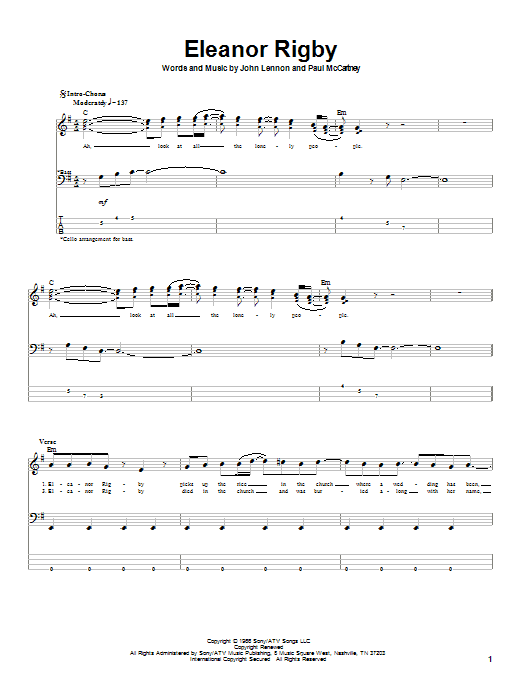 Tablature guitare Eleanor Rigby de The Beatles - Tablature Basse