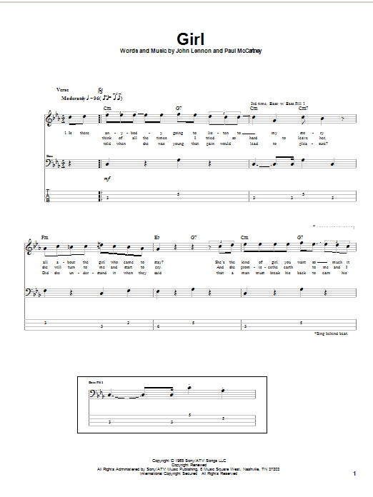 Tablature guitare Girl de The Beatles - Tablature Basse