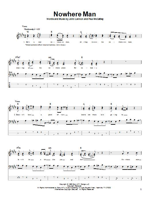 Tablature guitare Nowhere Man de The Beatles - Tablature Basse