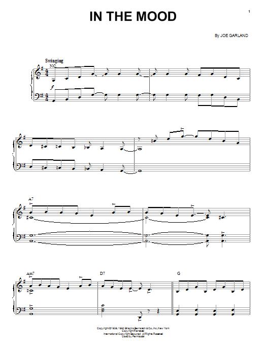 Partition piano In The Mood de Ernie Field's Orchestra - Piano Voix Guitare (Mélodie Main Droite)