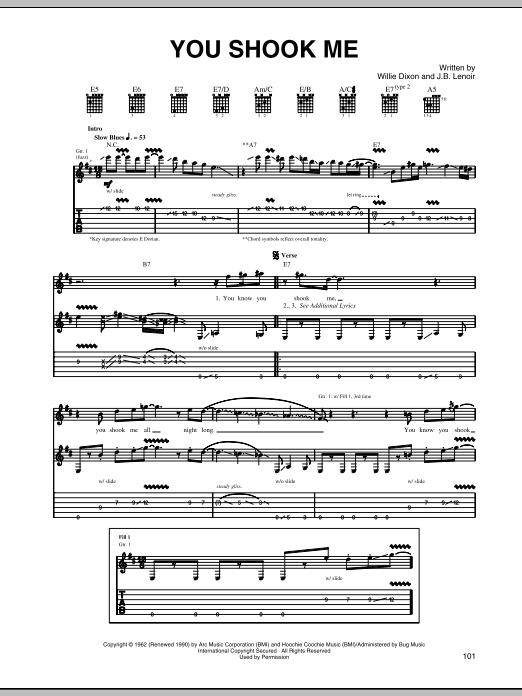 Tablature guitare You Shook Me de Led Zeppelin - Tablature Guitare