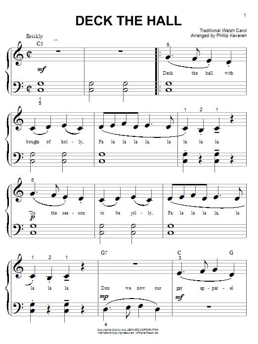 Partition piano Deck The Halls de Christmas Carol - Piano Facile