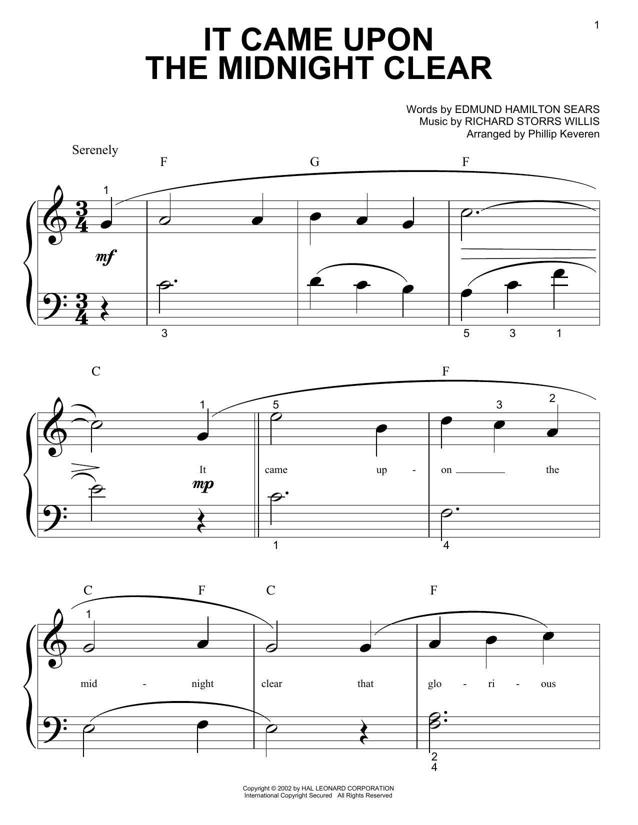 Partition piano It Came Upon The Midnight Clear de Edmund Hamilton Sears - Piano Facile